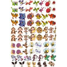 """Набор цветных термотрансферные наклейки """"Животные №1"""" А4"""