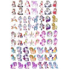 """Набор цветных термотрансферные наклейки """"Пони"""" А4"""