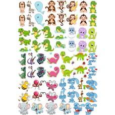 """Набор цветных термотрансферные наклейки """"Животные №2"""" А4"""