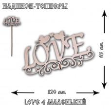 "Топпер ""Love 4"" с птицами маленький, 12*6,5*22.5 см, без упаковки"