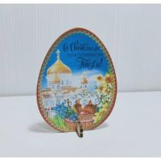 Подставка пасхальная цветная  Яйцо 9*7 см (желтый купол)
