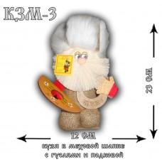 КЗМ-3  Кузя в меховой шапке с гуслями и подковой