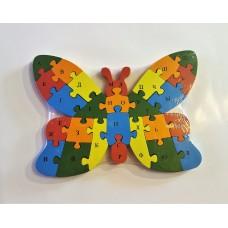 """Деревянный Алфавит-пазл """"Бабочка"""" 26*19 см, в вакуумной упаковке."""
