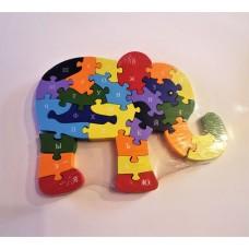 """Деревянный Алфавит-пазл """"Слон"""" 25*19,5 см, в вакуумной упаковке."""