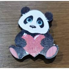 "Значок деревянный ""Панда"" сердце"